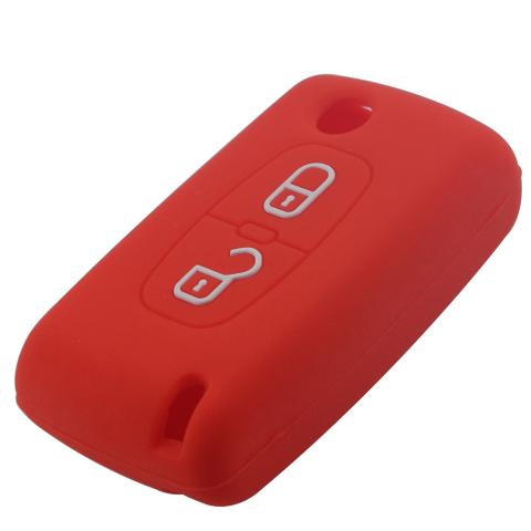 housse silicone pour cle citroen 2 boutons c1 c2 c3 c4 c5 c6 rouge etui de protection coque. Black Bedroom Furniture Sets. Home Design Ideas